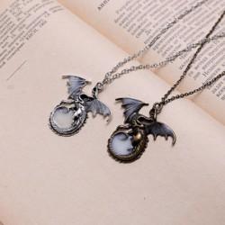 Retro Dragon Glow in the Dark necklace Silver Chain