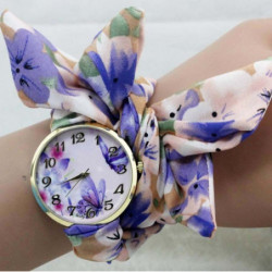 shsby Ladies Butterfly orchid flower cloth wristwatch fashion women dress watch Silky chiffon fabric watch Bracelet watch